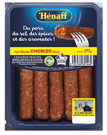 Les Saucisses fraîches Hénaff aux épices au Chorizo doux