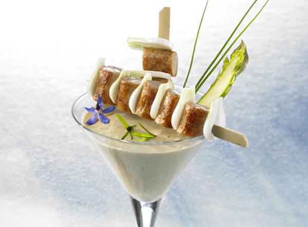 Milk shake d'huitre saucisse Hénaff grillées à l'estragon