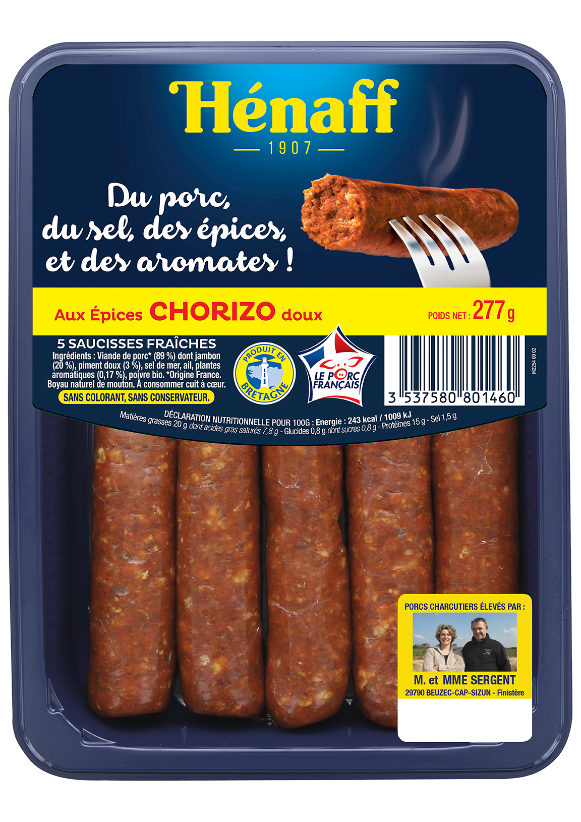 Les Saucisses Hénaff aux épices chorizo doux
