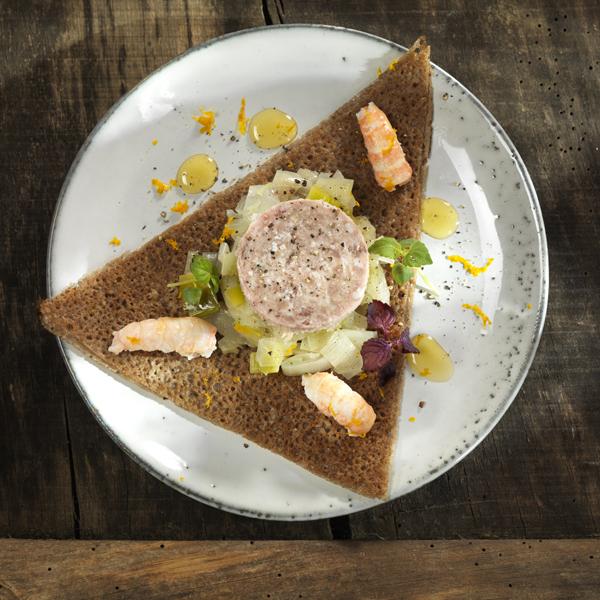 Galette de langoustines, poireau, fenouil et Pâté Henaff